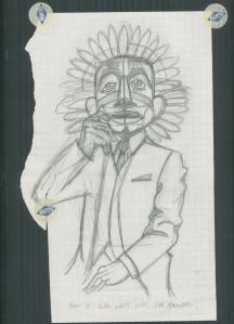 Devil Mask, Graphite sketch